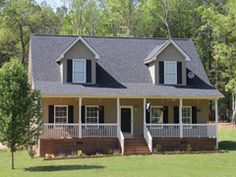 The Chesapeake floor plan is a cape cod style home from Madison Homebuilders with a full front porch and two dormers. We can build this home on your lot in NC or SC.