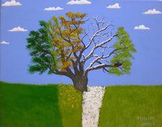 8x10 Four Season's Oak Tree acrylic painting by AcrylicsAndBeyond, $25.00