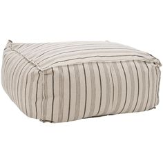 Safavieh Pin-Striped Large Beige Cotton Fabric Poof Ottoman | Overstock.com Shopping - The Best Deals on Ottomans