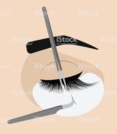 lash room decor Procedure for eyelash extension. Master tweezers add the false or fake cilia to the client. Eyelashes Drawing, Lash Room, Free Vector Art, Eyelash Extensions, New Work, Insta Pic, Eye Makeup, Make Up, Nail Polish