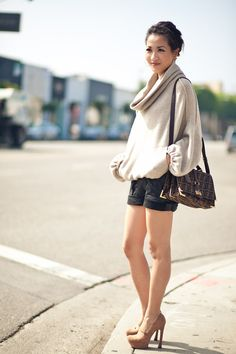 Playtime :: Cracked-leather paneled shorts, slouchy sweater & DVF shoot : Wendy's Lookbook