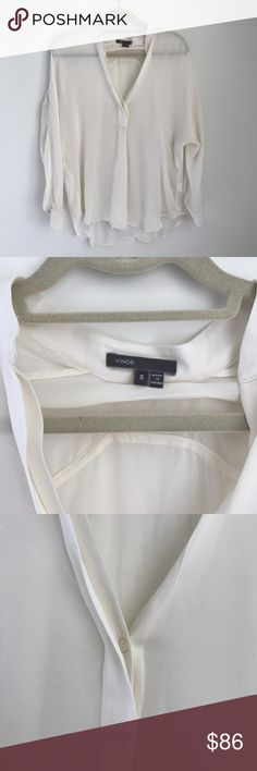 Vince White Silk Blouse size Small Vince white silk V-neck shirt. Size Small. Some signs of wear but in good condition. Really flattering and comfortable! Purchased for $295. Vince Tops Blouses