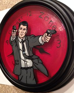 Archer Danger Zone glass painting in recycled by RaysPaintings, $35.00