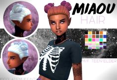 """chocolatemuffintop: """" DOWNLOAD MIAOU HAIR (DROPBOX) space buns deserve a space theme :D • maxis match • base game • hat compatible • tested in game • enabled for male and female • custom thumbnail •  on the back of head the texture is darker nothing..."""
