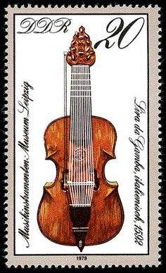 Music Stamps. Germany.This stamp shows the lira da gamba (or lirone), the bass member of the lira family of instruments that was popular in the late 16th and early 17th centuries. It is a bowed string instrument with between 9 and 16 gut strings and a fretted neck. When played, it is held between the legs in the manner of a cello or viol (viola da gamba).