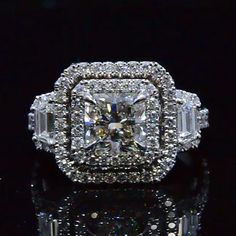 2.53 Ct. Radiant Cut Three Stone Diamond Dual Halo Engagement Ring H,VS2 EGL - Recently Sold Engagement Rings