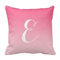 Girly Modern Pink Ombre Custom Monogram Pillow