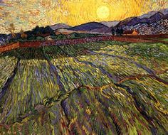 Пшеничное поле с восходящим солнцем