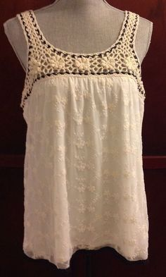 9debdb19bd Womens Halo Ivory Lace Sleeveless Baby Doll Tank Top with Crochet Trim Size  XL