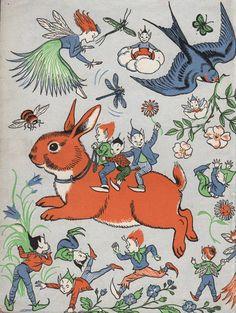 Orange RABBIT with ELVESand Fairy, 1950s vintage print, nursery decor girl
