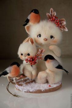 Купить Малыши и снегири. Зимние деньки. - лисено, зайка, снегири, раябина, кристина шаблина, fetreno