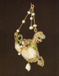 Manifattura spagnola-Drago marino snodabile in oro,smalti  e perle barocche-XVI secolo-British Museum-Londra