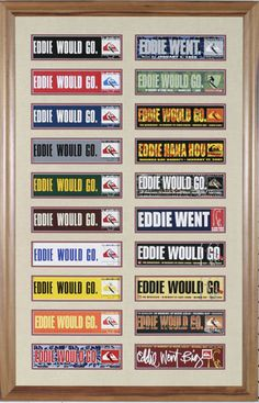 """Eddie Would Go"""" bumper stickers. From the very first introductory black version, through each year, including the """"Eddie Went"""" on the years the Eddie Aikau big wave event occurred."