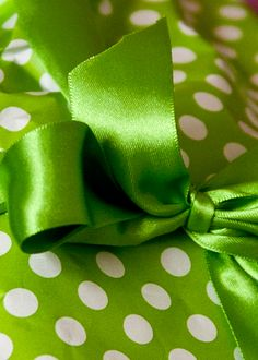 green ribbon and wrapping paper