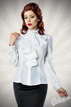 6d2d32dd4aedda high necke blouse – trendy retro style – quilling collar with jabot – button  panel with ruffles at the side – rhinestone buttons – long