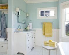 Benjamin Moore Woodlawn Blue (master bath color) now for towels/accent colors (yellow?)