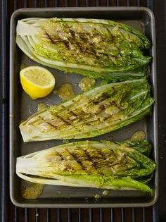 Grilled Romaine Hearts with Caesar Vinaigrette.  I love this as a grilled dinner side dish.  This whole meal looks great.