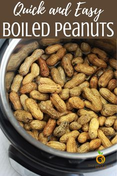 Instant Pot Boiled Peanuts, oh so addictive! A salty, slurpy, nutty snack perfect for parties, game nights & tailgating.Ready in half the time in your Instant Pots Vegan Recipes Easy, Sweet Recipes, Vegetarian Recipes, Superfood Recipes, Zoodle Recipes, Amazing Recipes, Vegan Vegetarian, Crockpot Recipes, Chicken Recipes