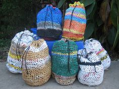 Plain drawstring bags (recycled plastic bags) Easy to do and they work very well.