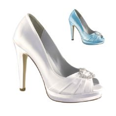 The Dyeables Gianna is a high heel, dyeable pump. This shoe has a pleated front decorated with a rhinestone embellishment. The heel is high, yet sturdy. The Gianna is available in White Satin and sizes include 5 - 10,11 medium.