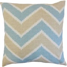 The Pillow Collection Hoku Zigzag Linen Throw Pillow Color: Surf, Size: x