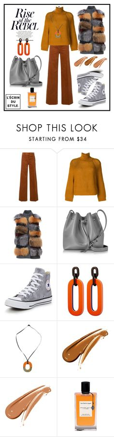"""""""Fur Vest"""" by lecrindustyle ❤ liked on Polyvore featuring Tory Burch, FABIANA FILIPPI, S.W.O.R.D., Lancaster, Converse, Hermès and Van Cleef & Arpels"""