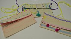 Hand-painted, stitched and embellished purses made with Annabel Wrigley at P this summer