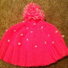My first knit hat!   Pattern: k2p2 for the rim, regular Knit the rest, and French knots for the dots!