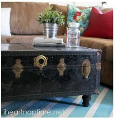 Mom's old steamer trunk - make base with turned legs