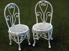Set Of Two Children's Garden Chairs (WW45) - White Wire Furniture. Over 10,000 similar dolls house miniature products available from www.thedollshousestore.co.uk