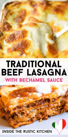 Traditional Beef Lasagna (Classic Recipe) Traditional Italian Lasagna made with a rich beef ragu, lasagna pasta and bechamel sauce. A classic comfort food recipe that the whole family will love. Beef Lasagne, Lasagne Recipes, Italian Lasagna, Italian Beef, Italian Foods, Italian Cooking, Best Italian Food, Italian Recipes, Ground Beef Recipes