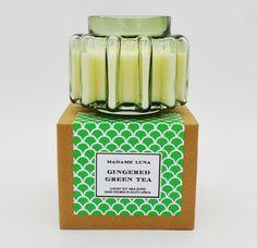 #madameluna #candle #gingeredgreentea #designerglass #gift #new Essential Oil Blends, Essential Oils, Paraffin Wax, Candle Making, Fragrance, Candles, Tea, Glass, Making Candles
