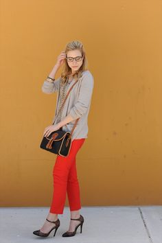 Red jeans with neutrals on top