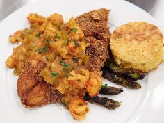 Crawfish Etouffee, Fried Catfish, Rice, Grilled Asparagus and Cornbread recipe from Food Network Star via Food Network