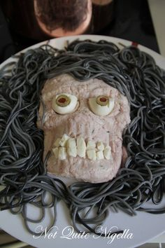 """13 creepy and unique ideas for Halloween party food. (The savory """"Worms in Dirt"""" is spectacularly easy and disgusting) Click link, then scroll down page for recipes."""