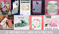 Pop up flower cards, fancy lacy cut cards, a layered Mandala, cards the kids can make. More than 20 Mothers Day Cards with Free SV. Free Mothers Day Cards, Mom Cards, Pop Up Flower Cards, Butterfly Cards, Project Free, Project Ideas, Flower Boquet, Flower Shadow Box, Exploding Box Card