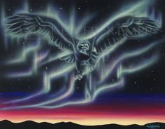 """Sky Dance Series - """"Little Light Eagle"""" - by Amy Keller-Rempp Art. by acrylic on canvas. This painting was commissioned by one of Amy's art collectors. Giclee Prints and fine art cards available. Canadian Wildlife, Aboriginal Artists, Art Cards, Spirit Animal, Giclee Print, Northern Lights, Amy, Eagle, Fine Art"""