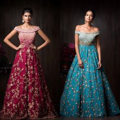 SB red and blue pure zardosi handcrafted designer gown. To order whatsapp us on Wedding Lenghas, Wedding Dresses, Wedding Outfits, Engagement Gowns, Sangeet Outfit, Shyamal And Bhumika, Strapless Dress Formal, Formal Dresses, Bridal Lehenga Choli