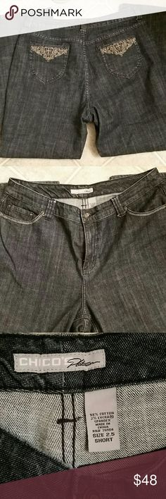 Chico's 2.5 short jeans Fit like a 14 or 16 pant, inseam 30in. Chico Jeans Boot Cut