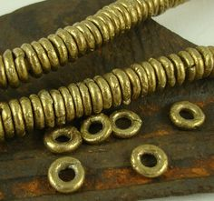 Brass Metal Bead Spacer Bead 9mm to 10mm Rustic by kurtzysbeads