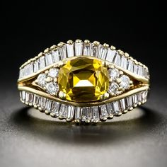 Yellow Sapphire and Diamond Ring