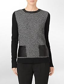 wool tweed + faux leather accent colorblock sweater #paypalit