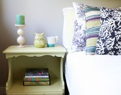 Love the idea of different side tables, charity shop