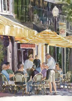 Print of Original Watercolor by EdieFaganArt on Etsy. This is my hometown of Winter Park, Florida - It's right on the favorite shopping and dining street - Park Avenue.