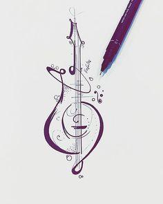 Desenho desenvolvido para tatuagem do Toni nosso cliente de JP, guitarra…                                                                                                                                                                                 Más #MusicTattooIdeas