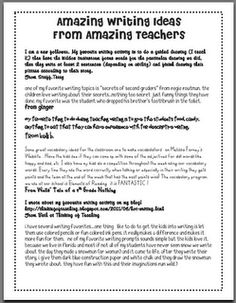 A collection of amazing writing ideas  http://mrsrojasteaches.blogspot.com/search/label/writing