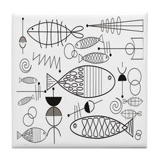 Black And White Bird Wallpaper Search 57 Ideas For 2019 Fish Patterns, Tangle Patterns, Doodle Patterns, Black And White Birds, Black And White Fabric, Fish Drawings, Cool Drawings, Fish Outline, Fish Wallpaper