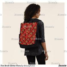 Fire Brick Glitter Flora Backpack