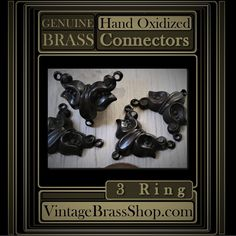 4PC #VINTAGE #BRASS 3 RING CONNECTORS    Very limited quantity available.    #Handoxidized brass with #black to deep brown/black #patina    These 3 ring #necklace #connectors also make stunning #earrings    Just connect 2 together with jump rings (turn one upside down).    Genuine vintage jewelry findings in excellent never used condition.    100% Pure Brass, Naturally Nickel, Lead Free. Made In The USA    Hand crafted patina with a #sealed low #gloss matte satin finish.    Hand Oxidized And…