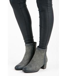 Hladké šedé členkové topánky na nízkom podpätku 022049b5612
